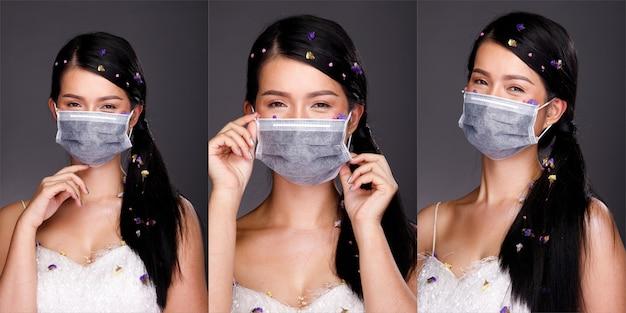 Коллаж группа половина тела портрет 20-х годов азиатская женщина черные длинные волосы педаль цветка украсить. девушка создает много взглядов, новый нормальный covid-19, носит защитную маску на сером фоне изолированы