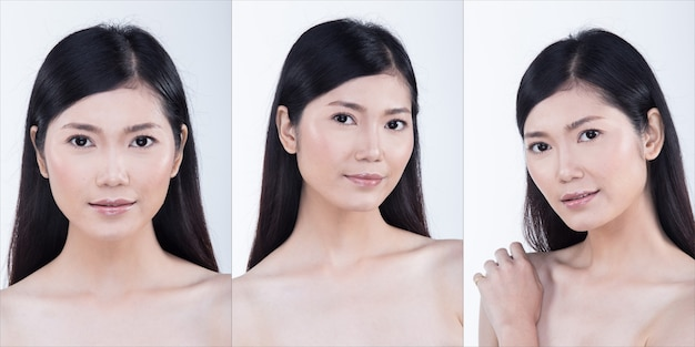 Коллаж групповой пакет азиатской женщины после нанесения макияжа прически. без ретуши, свежее лицо с красивой и гладкой кожей. студия освещения белый фон