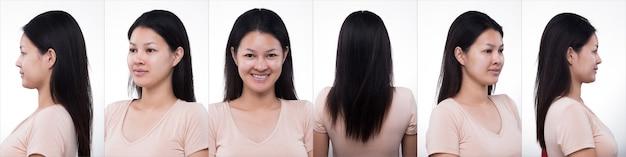 Коллаж групповой пакет азиатской женщины перед нанесением макияжа прически. без ретуши, свежее лицо с прыщами, губы, щека, кожа гладкая. студийное освещение на белом фоне, для лечения эстетической терапии