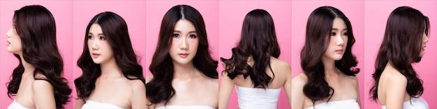 ファッションのコラージュグループパック若い20代アジアの女性黒髪美しいメイクアップファッションシャツドレス魅力的な魅力的な外観をポーズします。スタジオ照明ピンクの背景分離コピースペース、顔の周り360