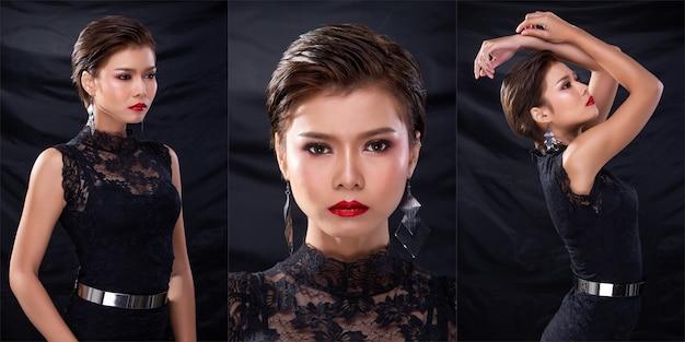 ファッションのコラージュグループパック若い日焼けした肌アジアの女性茶色の短い髪の美しい化粧品は、魅力的な魅力的な外観をポーズするファッション黒のレースのドレスを構成します。スタジオ照明暗い背景が分離されました