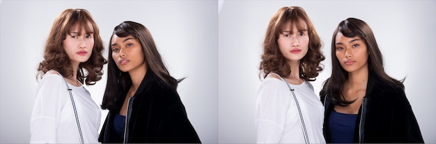 2つのファッションのコラージュグループパック若いスキニー姉妹の親友アジアの女性の黒髪は毛皮のジャケットとクリップサスペンションを着用します。スタジオ照明白灰色背景分離コピースペース