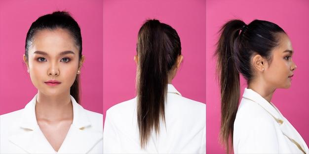 コラージュグループパックアジアのビジネスウーマンの肖像画は白いフォーマルブラザースーツを着て、自信を持ってスマートな外観、スタジオの照明ピンクの背景を分離し、弁護士の上司は笑顔のスマートな外観を360度ポーズします