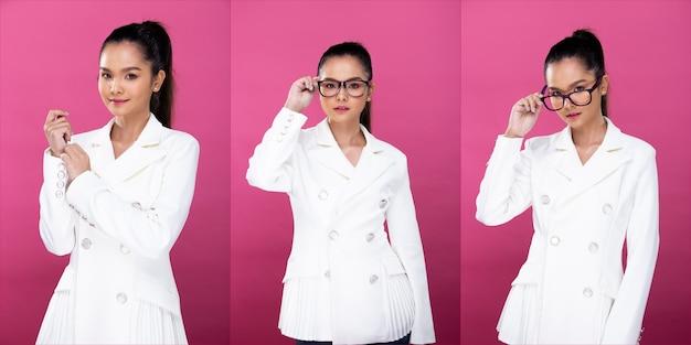 コラージュグループパックアジアのビジネスウーマンの肖像画は、白いフォーマルな適切なスーツのメガネを着用し、自信を持ってスマートな外観を持ち、スタジオの照明ピンクの背景を分離し、弁護士のボスは笑顔のコンセプトを提起します