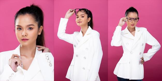 コラージュグループパックアジアのビジネスウーマンの肖像画は、白いフォーマルな適切なスーツを着て、自信を持ってスマートな外観を持っています、スタジオ照明ピンクの背景は分離され、弁護士の上司は笑顔のスマートな外観をポーズします