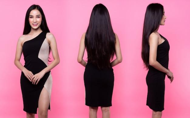 콜라주 그룹 팩 패션 아시아 여성의 초상화 황갈색 피부 검은색 긴 머리를 허리까지 아름다운 높은 패션이 섹시한 가슴 드레스를 만듭니다. 스튜디오 조명 핑크색 달콤한 배경 복사 공간 텍스트 로고 360