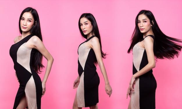 콜라주 그룹 팩 패션 아시아 여성의 초상화 황갈색 피부 검은색 긴 머리를 허리까지 아름다운 높은 패션이 섹시한 가슴 드레스를 만듭니다. 스튜디오 조명 핑크 달콤한 배경 복사 공간 텍스트 로고