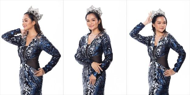 콜라주 그룹 팩 블루 실버 스팽글 이브닝 볼 가운 드레스에서 미스 아시아 미인 대회의 초상화 반짝 빛 다이아몬드 크라운, 스튜디오 조명 흰색 배경 절연