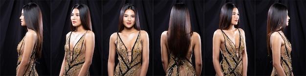 若いスリムなアジアの女性のコラージュグループパックの肖像画は、茶色のイブニングドレスのドレス、長いストレートの髪を着ています。美しい少女は、異なるスタイルのスナップで半身をポーズし、スタジオ照明黒の背景360