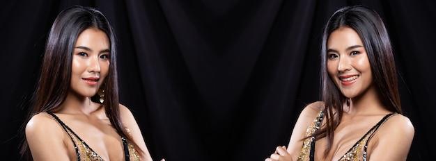 若いスリムなアジアの女性のコラージュグループパックの肖像画は、茶色のイブニングドレスのドレス、長いストレートの髪を着ています。美しい少女は、異なるスタイルのスナップ、スタジオ照明の黒い背景で半身をポーズします
