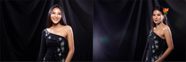 若いスリムなアジアの女性のコラージュグループパックの肖像画はダーククリスタルのイブニングドレスを着て、美しい少女は多くの異なるスタイルをポーズし、スタジオ照明の黒い背景のドレープ布