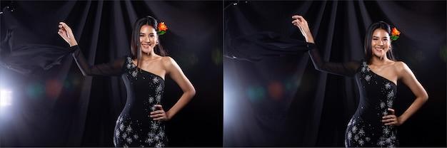 若いスリムなアジアの女性のコラージュグループパックの肖像画は、ダーククリスタルのイブニングドレスを着て、美しい少女は、多くの異なるスタイル、スタジオ照明の黒い背景のドレープ布を投げて投げます