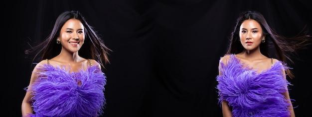 若いスリムなアジアの女性のコラージュグループパックの肖像画は紫の羽のイブニングドレスのドレスを着て、黒い長い髪の美しい少女は異なるスタイルのスナップでポーズをとる、暗い背景に風が吹く