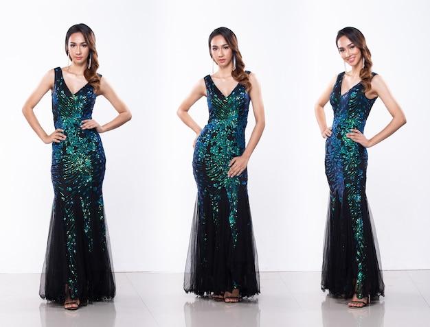 Коллаж групповой пакет портрет молодой стройной азиатской женщины в длинном платье с пайетками, красивая девушка позирует в полный рост в стиле разницы, студийное освещение на белом фоне