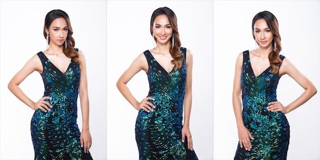 Коллаж групповой пакет портрет молодой стройной азиатской женщины в длинном платье с блестками и пайетками, красивая девушка позирует наполовину в разной стилистике, студийное освещение на белом фоне