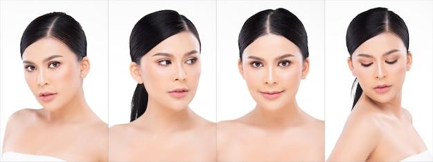 20代のアジアの女性のコラージュグループポートレートの顔のショットは、黒い包まれた髪型ときれいなファッションメイクをしています。女の子は白い背景の孤立したコピースペース上に多くのポーズと感情を表現します