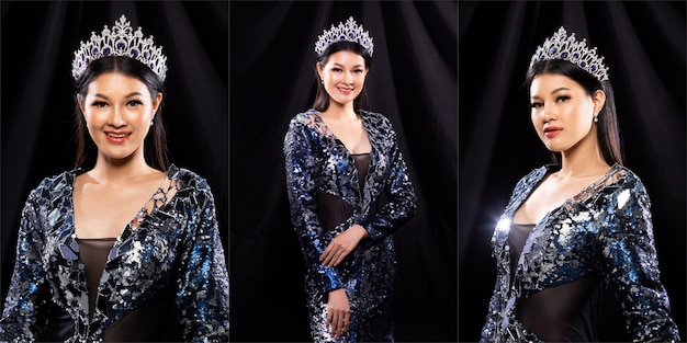 Collage group portrait of miss pageant beauty contest in blue sequin evening ball gown with sparkle light diamond crown, asian woman feels happy smile and poses many difference style over dark drape