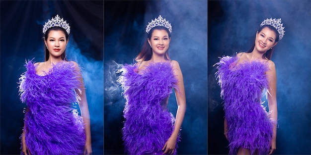 Collage group portrait of miss pageant beauty contest in purple feather evening ball gown with diamond crown, asian woman feels happy smile and poses many difference style over dark background smoke