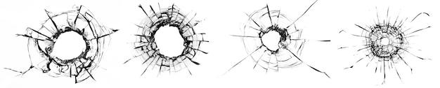 유리에 있는 공의 콜라주 구멍, 흰색 배경에 균열