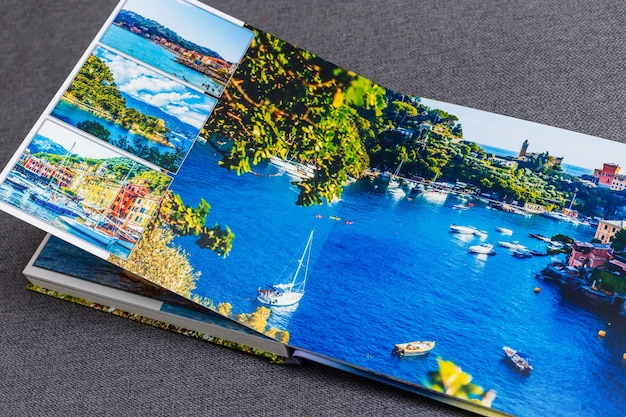 Collage of images of a persons life, photobook vacation travel in italy