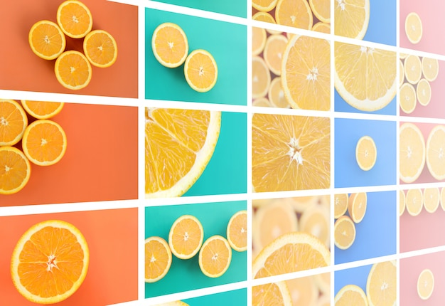 A collage of many pictures with juicy oranges