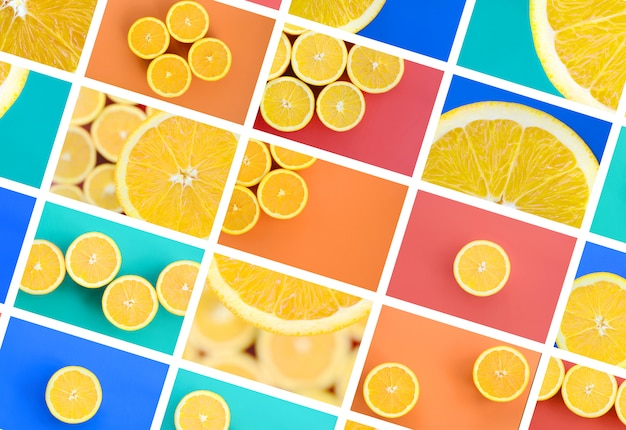A collage of many pictures with juicy oranges.