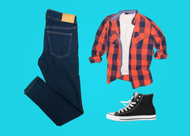 Collage of men's clothes pieces isolated