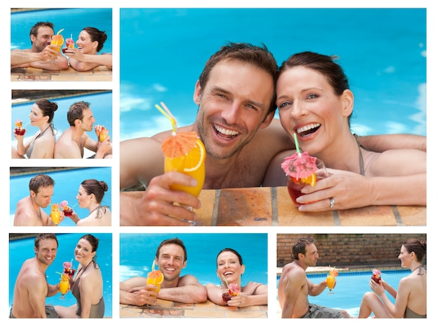 スイミングプールでカクテルを飲む素敵なカップルのコラージュ