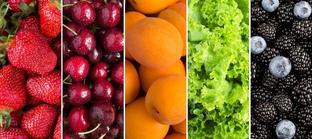 Коллаж из ягод, фруктов и зеленых листьев салата. крупный план.