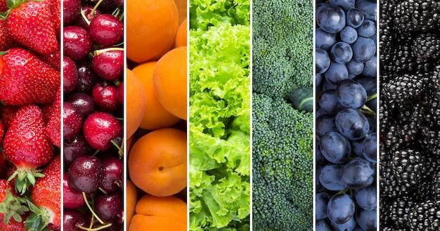 베리, 과일 및 야채 콜라주. 확대.