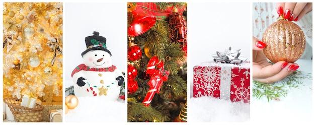 クリスマスと新年の写真のコラージュ。お祝いの装飾とジンジャーブレッド。
