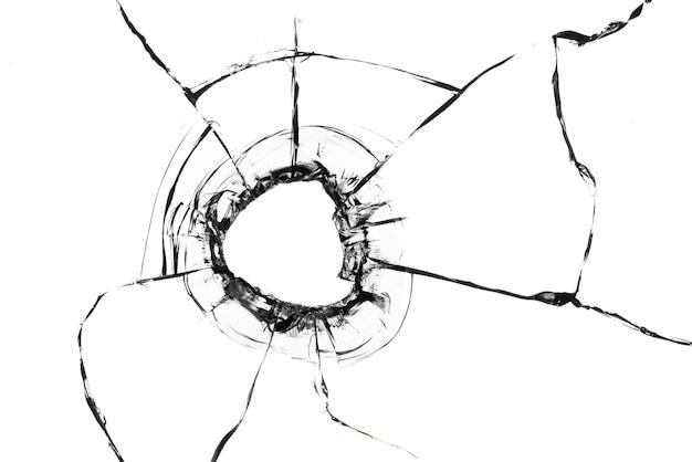 유리에 균열이 있는 콜라주, 흰색 배경에 있는 유리에 있는 총알 구멍. 창 유리 질감입니다.