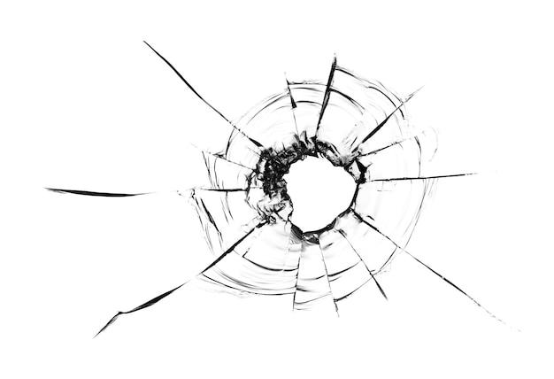 ガラスのひびのコラージュ、白い背景のガラスの弾丸からの穴。窓ガラスの質感。