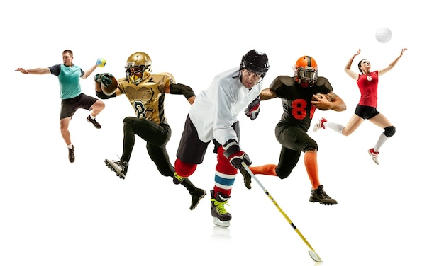 さまざまなプロのスポーツマンのコラージュは、白い背景で隔離のアクションとモーションで男性と女性にフィットします。 5モデルで作られています。スポーツ、成果、競争、チャンピオンシップの概念。
