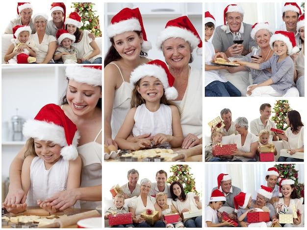 집에서 함께 축하 순간을 즐기는 가족의 콜라주