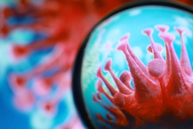 현미경으로 혈액에 있는 독감 covid-19 바이러스 세포의 콜라주. 현미경으로 바이러스 세포 또는 박테리아. 세균 미생물 미생물 클로즈업. 매크로 사진.