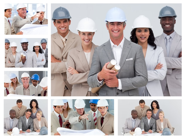Коллаж дружественных людей строительства