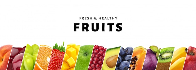 복사 공간, 신선 하 고 건강 한 과일과 열매 클로즈업 흰색 배경에 고립 된 과일의 콜라주