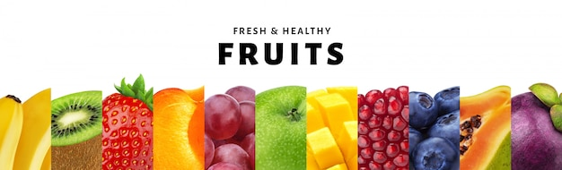 Коллаж из фруктов на белом фоне с копией пространства, свежие и здоровые фрукты и ягоды крупным планом