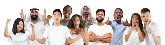 행복한 백인 아시아인과 아프리카계 미국인의 콜라주는 행복해 보인다