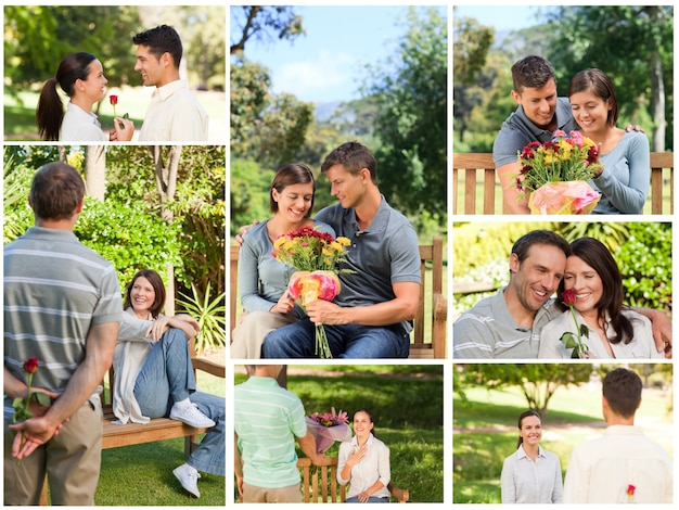 Коллаж из прекрасных пар, наслаждающихся моментом вместе в парке