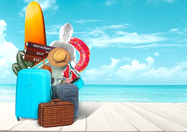 オーシャンビュー前の旅行用荷物のコラージュ夏のリゾート旅行のコンセプト