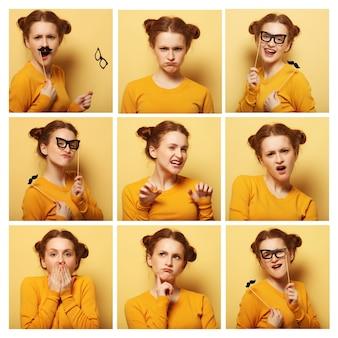 黄色の背景の上の若い女性の異なる表情のコラージュ Premium写真