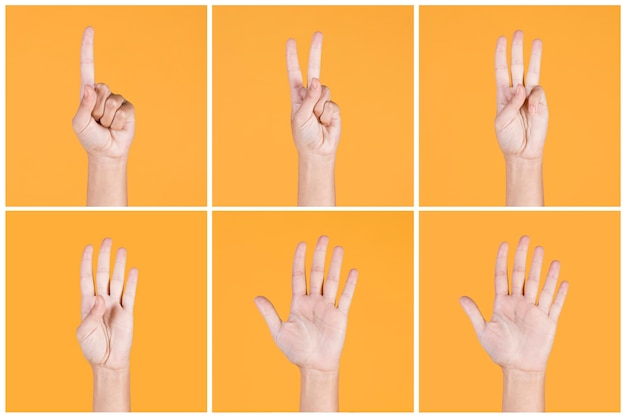 Collage di una o cinque dita contano i segni su sfondo giallo