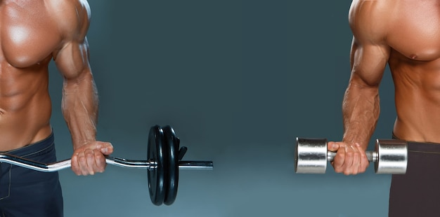 Collage of one handsome power athletic man bodybuilder doing exercises with dumbbell and barbell on dark background