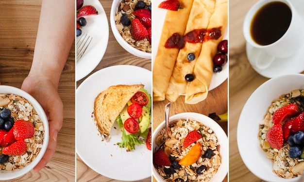 Collage of photos of breakfast