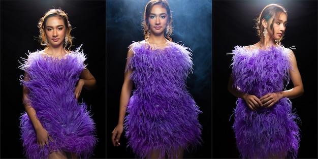 Коллаж портрет азиатской женщины чувствует себя счастливой улыбкой и ношением вечернее пурпурное платье из перьев. многие модные позы девушки с светом назад и ветром для естественного вида. студия освещения черный фон