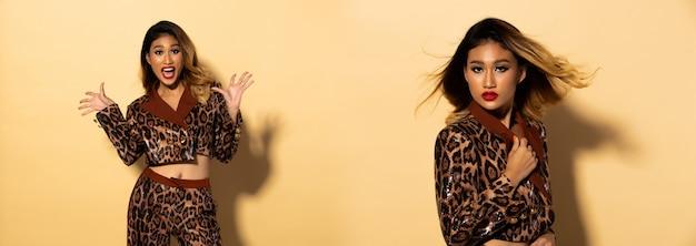 Коллаж портрет красивой азиатской женщины чувствует вау улыбку. девушка носит куртку с леопардовым узором и дизайнерские брюки. студия солнечный свет пастельный желтый фон с тенями и потом на лице