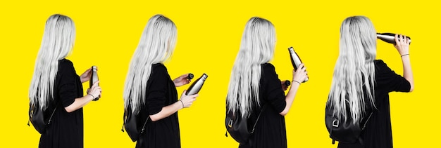 Collage of portraits, back view of young girl with white hair, opened and drinking water from reusable, steel thermo water bottle