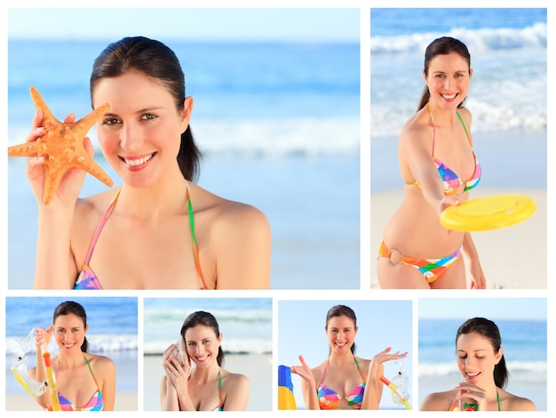 Collage of a pretty brunette woman enjoying the moment on a beach